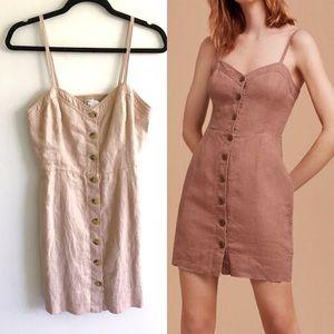 ARITZIA Wilfred Linen Button Front Dress 8